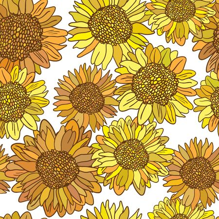 Vector seamless pattern with sunflowers