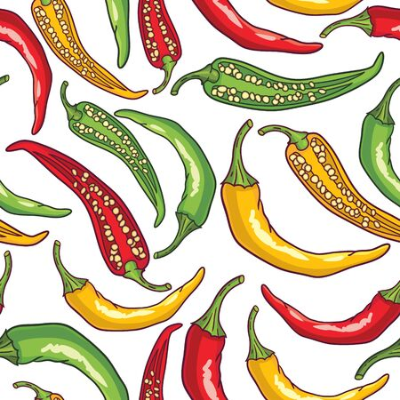 Vector seamless pattern with green, yellow and red peppers Illustration