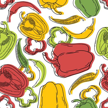 Vector seamless pattern with green, yellow and red peppers