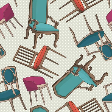 Vector seamless pattern with armchairs