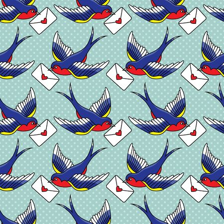 Vector old school seamless pattern with birds and love letters