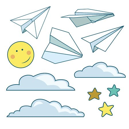 Vector set with isolated paper planes, stars, moon, clouds Stock Illustratie