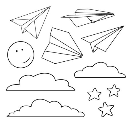 Vector set with isolated paper planes, stars, moon, clouds Stockfoto - 142069553