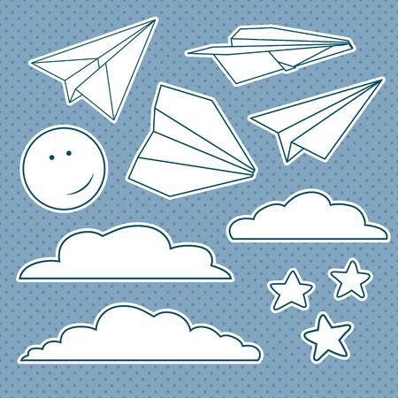 Vector set with isolated paper planes, stars, moon, clouds Stockfoto - 142069573