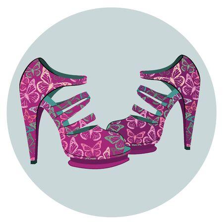 Beautiful pair of fashion vintage shoes with butterflies. Vector illustration. Ilustração