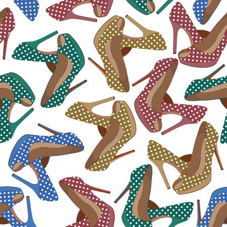 Vector seamless pattern with bright fashion shoes
