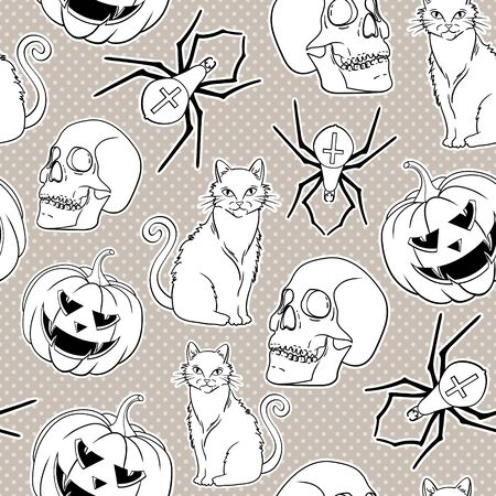 Halloween vector seamless pattern with cat, spider and pumpkin