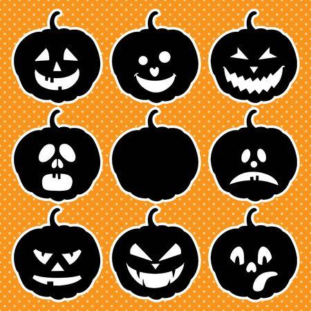 Halloween set of isolated pumpkins. Vector illustration Ilustração