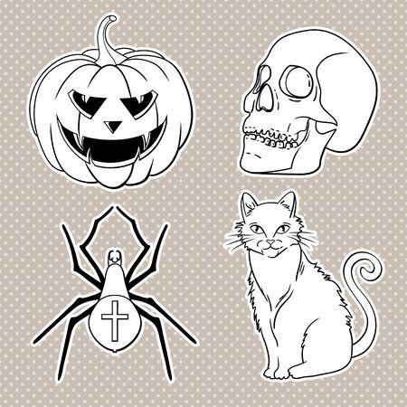 Halloween icons set: pumpkin, skull, spider, red cat.