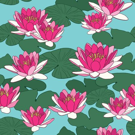 Vector seamless pattern with lotus flowers Иллюстрация