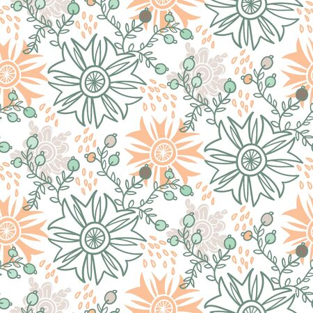 Cute floral seamless pattern. Vector background with flowers and leaves. Иллюстрация