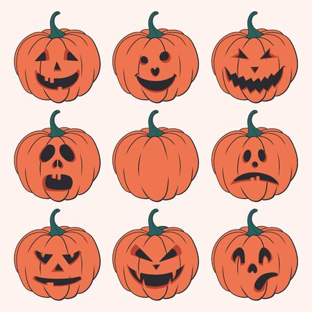 Halloween set of isolated pumpkins. Vector illustration Illustration