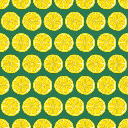Seamless pattern with yellow lemons. Vector illustration. Stock Illustratie