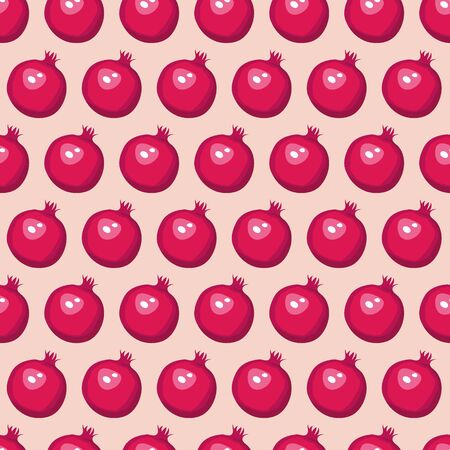 Vector summer pattern with pomegranates. Seamless texture design.