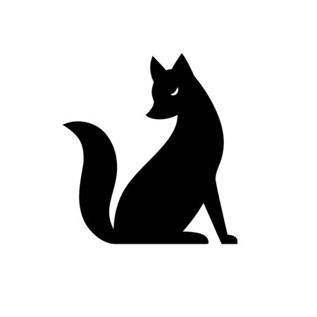 Vector isolated black and white fox icon. Creative logo concept Illusztráció
