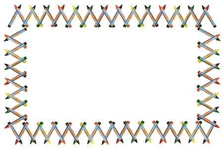 Multicolor regular size crayon border arranged in rectangular frame isolated on white photo