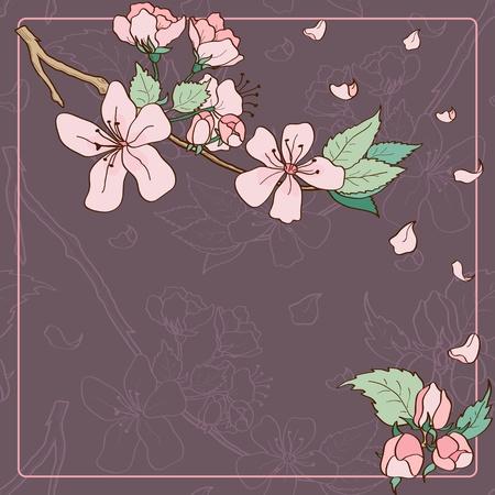 japanese garden: Apple tree blossom greeting card Illustration