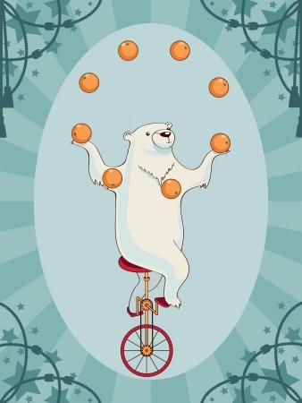bicicleta retro: Vintage oso de circo Vectores