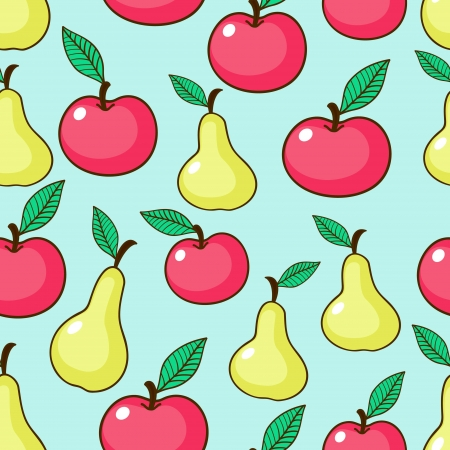 Apples and pears seamless pattern Vector