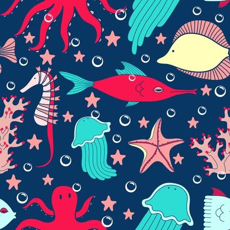 Sea world seamless pattern Vector