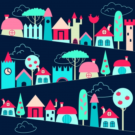 cartoons outline: Colored houses background