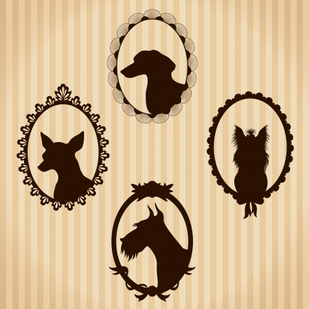 chihuahua dog: Dogs vintage silhouettes Illustration