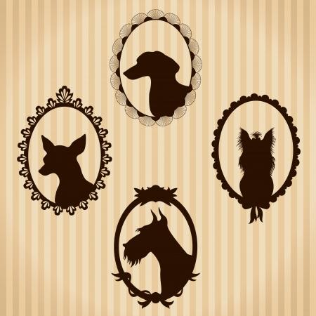 Perros vendimia siluetas Foto de archivo - 19699256