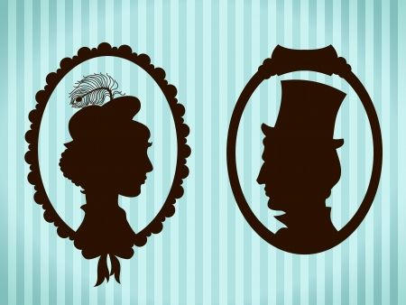 vintage portrait: Man and woman vintage silhouettes