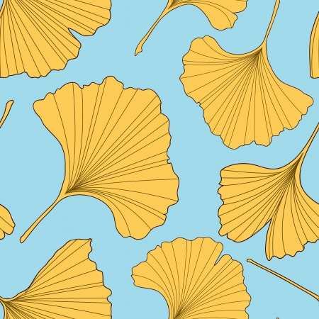 Ginkgo leaves seamless pattern Vector
