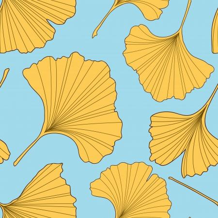 ginkgo: Ginkgo leaves seamless pattern