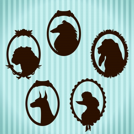 dog ears: Dogs vintage framed silhouettes