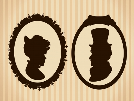 Victorian couple vintage silhouettes Vector