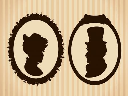 man face profile: Victorian del vintage siluetas pareja