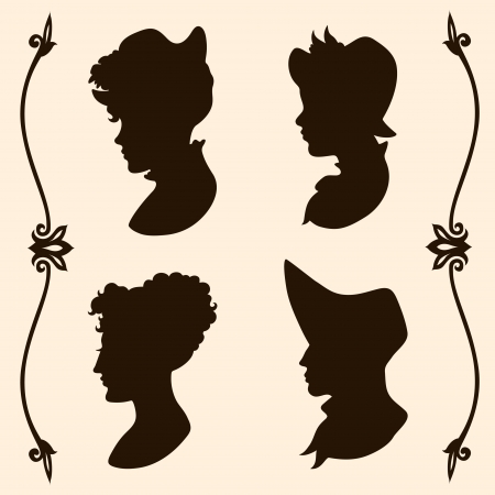 victorian woman: Vintage women hats and hair style silhouettes Illustration