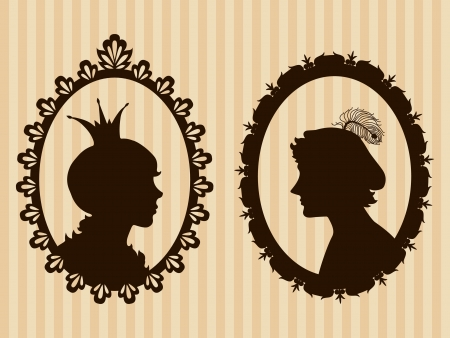 medieval woman: Prince and princess framed silhouettes