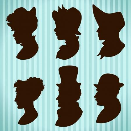 coiffer: Les gens de cru chapeaux et des silhouettes de style de cheveux Illustration