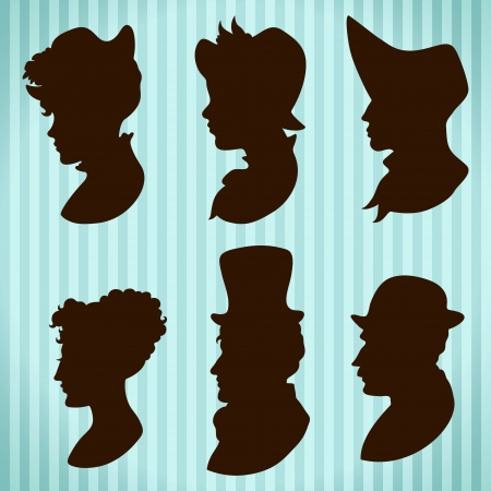 style: Vintage people hats and hair style silhouettes