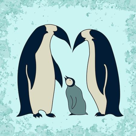 Penguin family illustration Stock Vector - 20482878