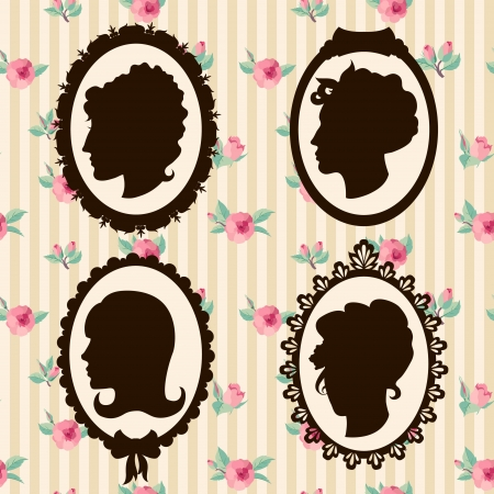 Vintage women silhouettes Vector