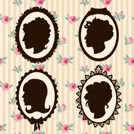 women: Vintage women silhouettes Illustration
