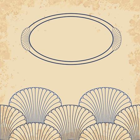 shell pattern: Retro style invitation shell card