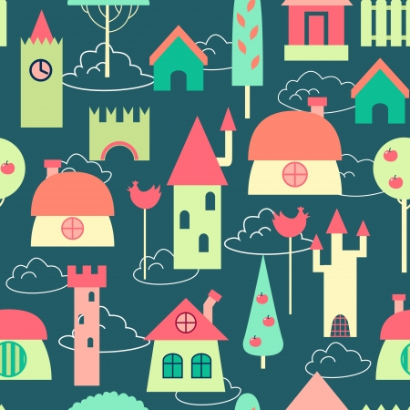 Colored houses seamless pattern Vector