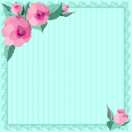 Vintages roses blue frame Vector