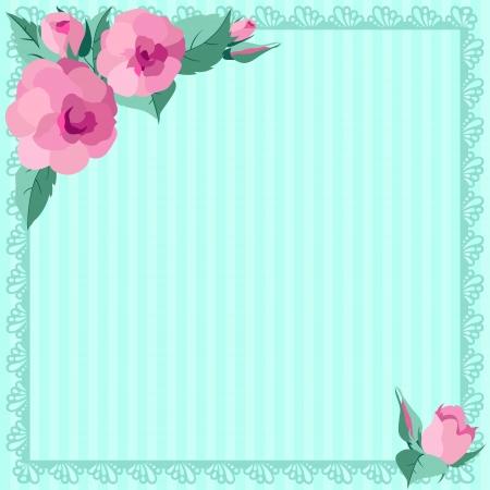 Vintages roses blue frame Stock Vector - 20482860
