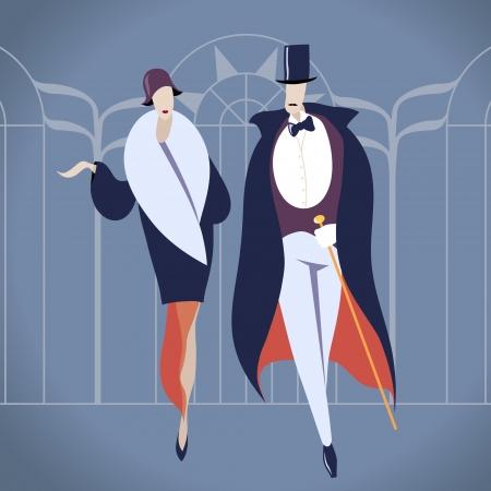tuxedo man: Art deco coppia di illustrazione