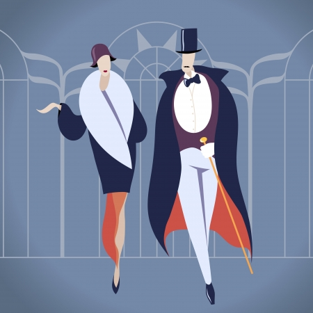 flapper: Art deco couple  illustration