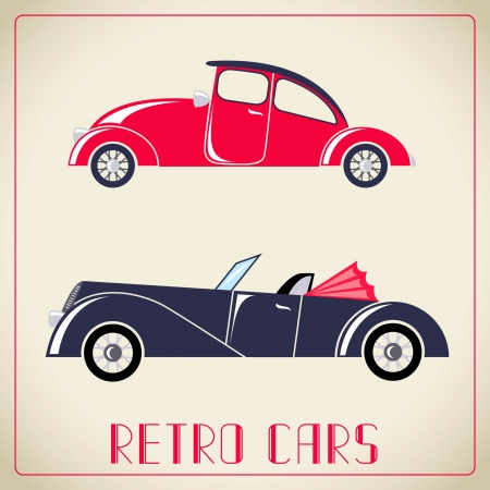 Retro cars  illustration 向量圖像