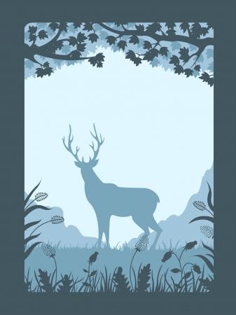 autumn scene: Deer in the forest Illustration