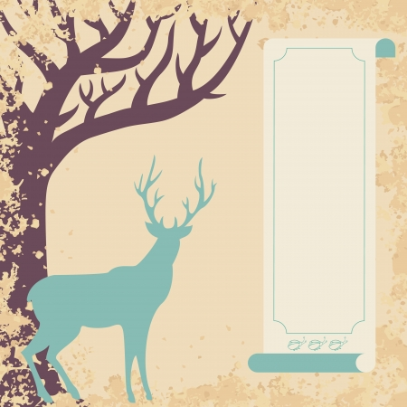 Deer and tree invitation card Vector