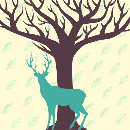 Deer and tree vector illustration Illustration